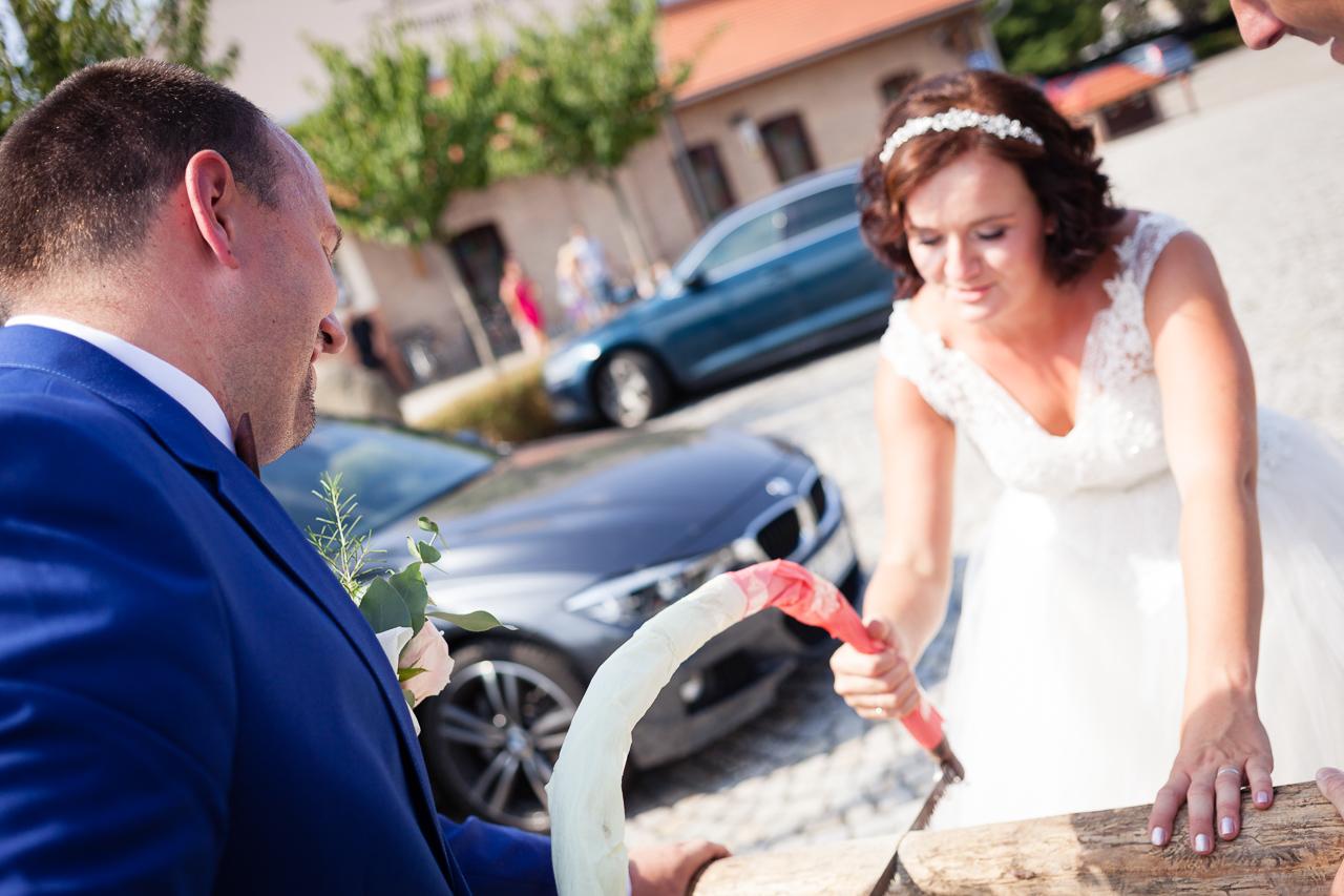 Nevěsta se ženichem řežou kládu