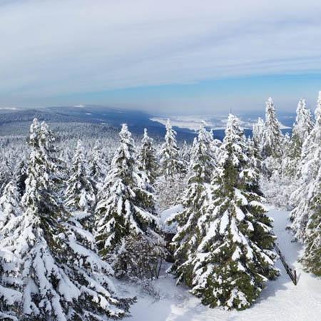 Zimní Orlické hory z rozhledny Anny