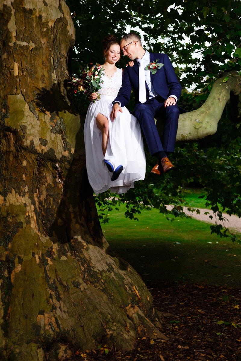 Svatební portrét nevěsty a ženicha jak sedí na větvi památného stromu v parku v Cholticích