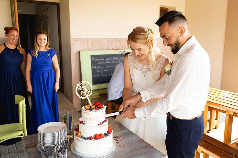 Nevěsta se ženichem zakrojují dort, svatba